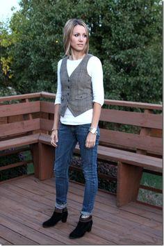 mens wear vest, skinny jeans, ankle boots