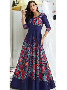 Impressive Navy Blue Printed Long Gown