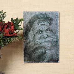 Antiqued Santa Wall Sign - TerrysVillage.com