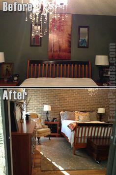 b&q brick wallpaper. master bedroom accent wall. | paint it black