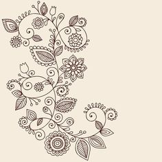 Draw Flowers Clip Art of Vines Henna Tattoo Paisley Vector - Search Clipart, Illustration Posters, Drawings, and EPS Vector Graphics Images - - Hand-Drawn Abstract Henna Mehndi Mandala Flowers and Vine Paisley Doodles Vector Illustration Design Elements Henna Mehndi, Henna Tatoo, Henna Tattoo Muster, Henna Art, Mandala Tattoo, Henna Mandala, Lotus Tattoo, Flower Mandala, Lotus Flower
