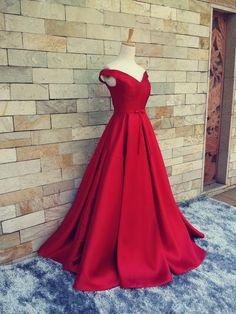 Long Red Prom Dress, Sexy V Neck Cap Sleeve Evening Dress, Satin Formal Evening…