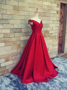 Long Red Prom Dress, Sexy V Neck Cap Sleeve Evening Dress, Satin Formal Evening… http://www.coniefoxdress.com