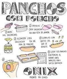 Receta de los panchos con poncho que comen en la película por #Cocinarydibujar  #receta #hotdogs #panchos #cocina