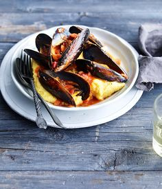 Australian Gourmet Traveller recipe for mussels with buttered polenta.