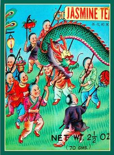Chinese jasmine (dragon!) tea label- I just love this image! www.luckybamboocrafts.com