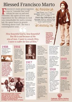 Saint/s of the Day – 20 February – Blessed Francisco (11 June 1908 – 4 April 1919 died aged 10), his sister Jacinta Marto (11 March 1910 – 20 February 1920 died aged 9) and their cousin Lúcia Santos (1907–2005) were children from Aljustrel near Fátima, Portugal, who said they witnessed three apparitions of an angel in 1916 and several apparitions of the Blessed Virgin Mary in 1917. Mary was given the title Our Lady of ...........