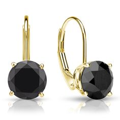 18k Yellow Gold 4-Prong Basket Round Lever back Black Diamond Stud Earrings 1.00 ct. tw. #diamonds #blackdiamonds #diamond #jewelry #earrings #fashion #luxury #loveit