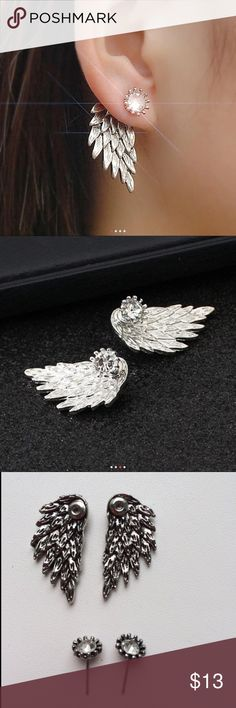 👼🏼 Angel Wings Stud Earrings 👼🏼 👼🏼 Angel Wings Stud Earrings Inlaid Crystal Alloy 👼🏼 Jewelry Earrings