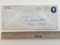 """Item: fc_19570917_2 business cover approx. 4""""x 9 ½"""" (stamped envelope) Condition: very good – yellowing due to age – minor creases  Fresno Junk Co. 3270 Hwy. 99 So. Fresno 25, California  Postmark: FRESNO SEP 17 6 PM 1957 CALIF. Stamp: 3c Purple George Washington stamped envelope  Addressee: P. G & E 1401 Fulton St. Fresno, Calif."""