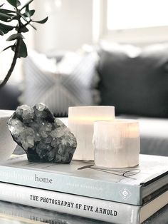 Selenite Candle Holders — Harper + Wilde Best Picture For concrete candle holders For Your Taste You are looking for something, and it is going to tell you exactly what you are looking for, and you di Coffee Table Styling, Decorating Coffee Tables, Home Decor Accessories, Decorative Accessories, Crystal Aesthetic, Interior Decorating, Interior Design, Cottage Decorating, Crystals In The Home