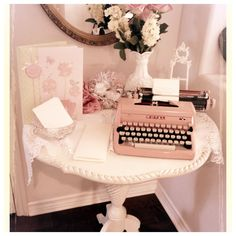 our pink vintage typewriter and table | Pretty Vintage Rentals