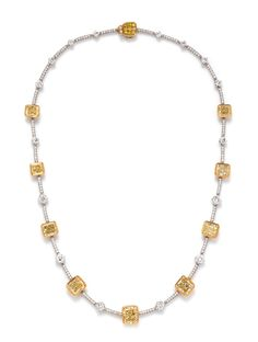 A bicolor gold, colored diamond and diamond necklace, Stefan Hafner | Estimate: $60,000 - $80,000 | Important Jewelry | September 10, 2019