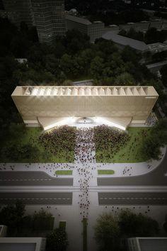 """Projetado pelo Penda. A proposta do escritório de arquiteturaPendapara oconcurso do Novo Museu Bauhauscorresponde a um projeto mutávelque funciona """"por um lado, como..."""