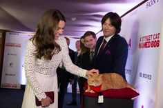 The Duchess of Cambridge meets Bob at the premiere of A Street Cat Named Bob in London