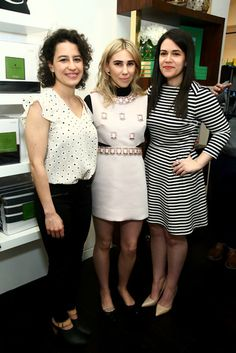 actress zosia mamet with the stars of hbo's broad city, ilana glazer and abbi jackson, at the kate spade new york home pop-up housewarming #makeyourselfahome
