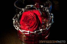 chain link centerpiece  Rock n Roll, red and black, Las Vegas Wedding, Scheme Events wedding planner
