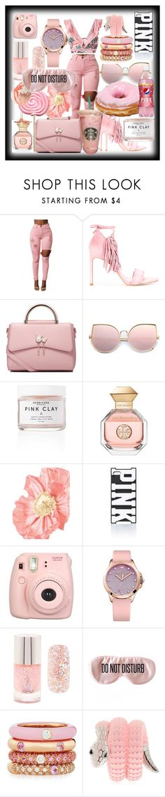 """""""PINK MiXED UP"""" by lebanese-qv33nv ❤ liked on Polyvore featuring Stuart Weitzman, WithChic, Tory Burch, Victoria's Secret PINK, Fujifilm, Juicy Couture, Forever 21, BaubleBar, Adolfo Courrier and Tamara Donalli"""