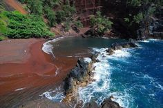 Clothing is optional at the Red Sand Beach on the Road to Hana ~ Kaihalulu Beach, Maui! Most Beautiful Beaches, Beautiful Places, Red Sand Beach, Road To Hana, Aloha Hawaii, Places To Travel, Places Ive Been, Stuff To Do, Waves