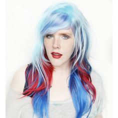 Blue Wig Long Blue Wig Wavy Red Wig Scene Wig Blue Scene Wig Cosplay... ($80) ❤ liked on Polyvore featuring beauty products, haircare, hair styling tools, bath & beauty, hair care, silver, wigs, straight iron, straightening iron and flat iron