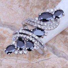 Black Sapphire White Topaz 925 Sterling Silver Overlay Ring For Women Size 5 / 6 / 7 / 8 / 9 / 10 / 11 / 12 S0178  #weddingjewelry #designerdivajewelry #rings #weddingbands #chain #pendants #bridal #jewellery #jewelrysets #earrings