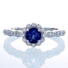 Sapphire Diamond Flower Halo Engagement Wedding by SAMnSUE on Etsy, $1150.00