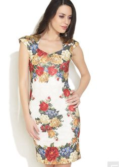 Latest floral sweetheart cap-sleeve bodycon-dresses  online via @Roposo