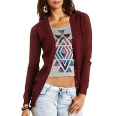 Maroon Cardigan Super cute maroon cardigan! It has gold stud buttons and it is super lightweight, so perfect for this spring! Charlotte Russe Sweaters Cardigans