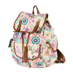 Beige Flower and Butterfly Print Backpack