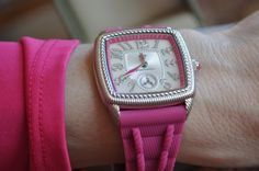 pretty + durable makes this @Judith Ripka watch perfect for busy mom's.  Love how @Colleen Padilla matched it to her pink top