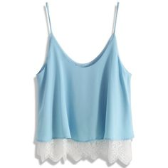 Chicwish Breezy Lace Trimmed Cami Top in Blue (50 AUD) ❤ liked on Polyvore featuring tops, blue, lace trim top, camisole crop top, cropped camisole, camisole tops and cami top