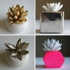 neon, silver & gold cement succulents