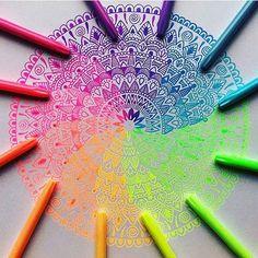 Imagen de art, colors, and mandala Mandala Design, Gel Pen Art, Dibujos Zentangle Art, Tech Art, Doodles, Mandala Drawing, Drawing Art, Zentangle Patterns, Zentangles