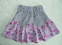 Мои петельки и стежки: Продолжение пошива юбки с оборками