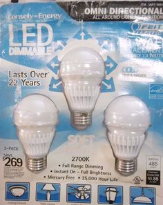 3-PACK 40W LED FEIT OMNI DIRECTIONAL 485 LUMENS 40 WATT BULBS USE ONLY 7.3W B19 #FeitElectric
