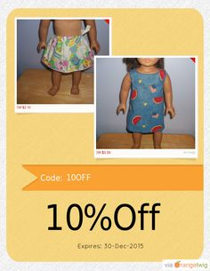 Get 10% OFF our Entire Store now! Enter Coupon Code: 10OFF Restrictions: Min purchase: USD 50.00, Expiry: 30-Dec-2015. Click here to avail coupon: https://orangetwig.com/shops/AAAVswA/campaigns/AABLmaP?cb=2015009&sn=sue18inchdollclothes&ch=pin&crid=AABLmaf