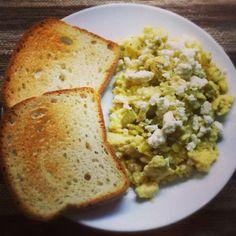 Gluten free toast with eggs, green chiles and feta cheese #brunch #recipe