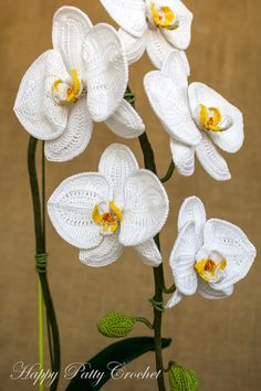 "Crochet Orchid Pattern & Instructions Moth by HappyPattyCrochetCrochet Orchid Pattern - Crochet Flower Pattern - Crochet Pattern for Home Decor & Flower Applique - Phal Orchid Flower Pattern - Trend Ideas""Crochet Moth Orchids (Phalaenopsis), been a Knitted Flowers, Crochet Flower Patterns, Flower Applique, Crochet Motif, Crochet Stitches, Crochet Roses, Diy Crafts Crochet, Crochet Projects, Moth Orchid"