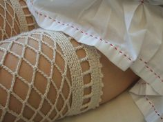 stitched cotton dress and crocheted silk stockings by Minus Sun