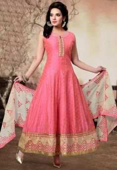 Woven Chanderi Cotton Abaya Style Suit in Pink