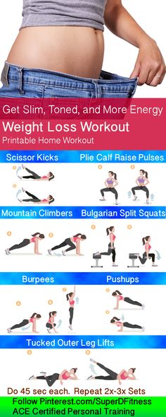 Get Slim, Toned, and More Energy with this weight loss workout! Follow Pinterest.com/SuperDFitness now to get more fit, increase fitness motivation, exercise ideas, and great daily living tips.