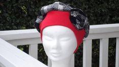 Chapeau béret turban chapeau  pour femme  écossais noir et blanc  rouge créateur lin 054e1b665ae