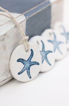 Starfish Gift Tags Clay : Hand Stamped White Clay Tags Navy Blue Starfish Set of 4 Coastal Beach Nautical Gifts. $10.00, via Etsy.