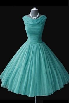 Vintage Ball Gown A-line Knee-Length Chiffon Mint Homecoming Dress