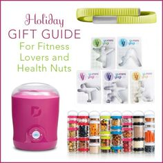 """A Dash Greek Yogurt Maker, BlenderBottle GoStak, Jawbone Up24 Band, and Yummi Yogi Cookie Cutters on a white background with the words """"Holiday Gift Guide For Fitness Lovers and Health Nuts"""" in pink and lime green font."""