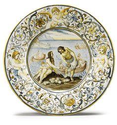 An Italian maiolica dish, from the Grue family workshop circa Castelli Glazes For Pottery, Ceramic Pottery, Ceramic Art, Fine Porcelain, Porcelain Ceramics, Art Decor, Modern Art, Auction, Prints