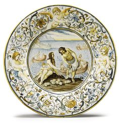 AN ITALIAN MAIOLICA DISH, FROM THE GRUE FAMILY WORKSHOP, CIRCA 1740, CASTELLI