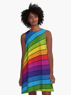 « Rainbow stripes - rayures multicolores-arc-en-ciel - zen - yoga- sérénité » par LEAROCHE Zen Yoga, Athletic Tank Tops, Stripes, Summer Dresses, People, Fashion, Gowns, Moda, Summer Sundresses
