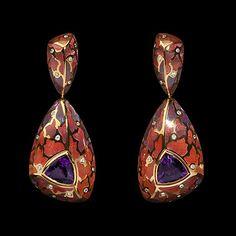 Mousson Atelier earrings Four Seasons Yellow gold 750, Amethyst 2.84 ct., Diamonds, Enamel