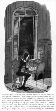 "To Nancy,  ""I'll be home soon dear.""  Art by Charles Addams"